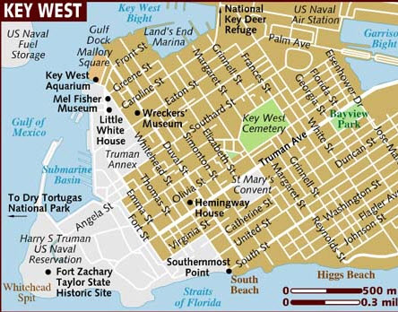 key west in florida map