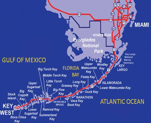 Key West Islands Map Map of Florida Keys Top Florida Keys Map For Key Largo To Key West